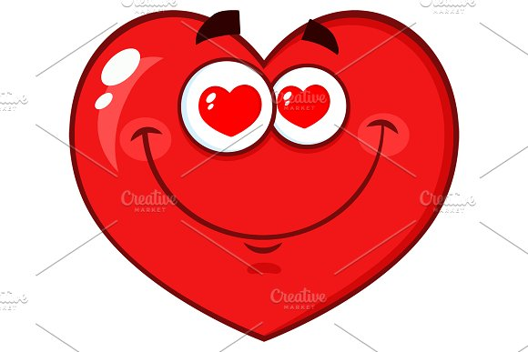 Red Heart Character With Hearts Eyes