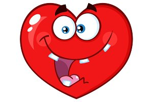 Crazy Red Heart Cartoon Character