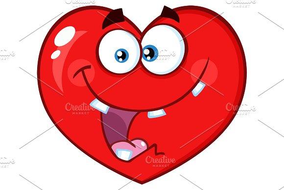 Crazy Red Heart Cartoon Character
