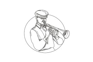 Jazz Musician Playing Trumpet Doodle