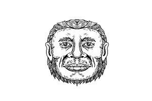 Neanderthal Male Head Doodle Art