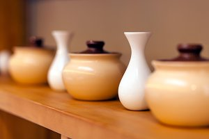 Pots and white small vases