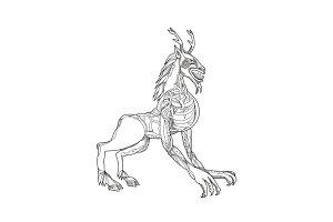 Wendigo Crouching Doodle Art