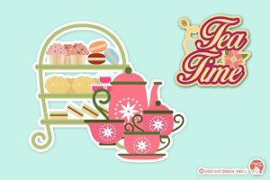 Digital Clipart Tea Time,Tea Party