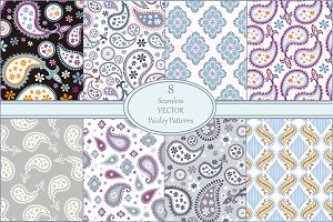 Seamless Paisley Patterns Vector
