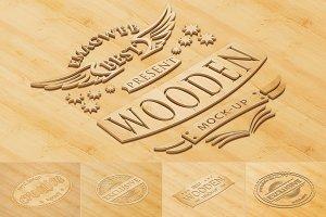 Perspective Wooden Logo Mockups