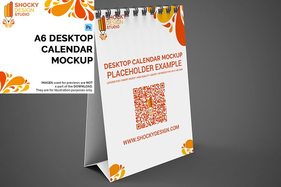 Desktop Calendar A6 Mockup