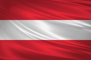 Austria flag blowing in the wind.
