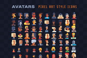 Avatar characters pixel art set.