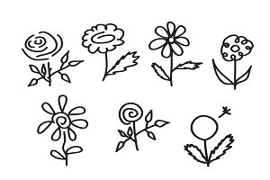 Flower Icons Hand Drawn Sketch EPS