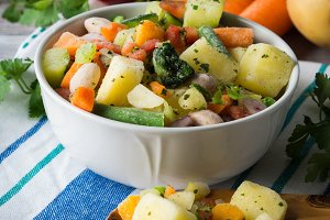 Frozen vegetables prepared for quick
