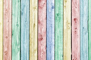 Pastel painted old wood fence