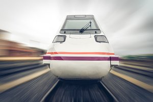 front view of a train moving