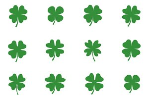 Cute four leaf clover clip art set