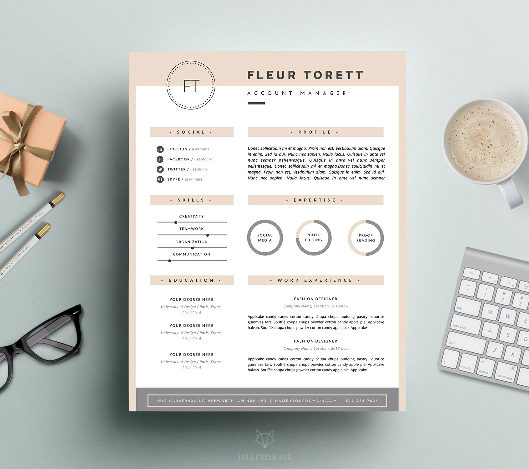 sample template resume resume template cv design resume templates 24705 | fleur 1