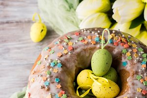 Easter cake with frosting, sprinkles
