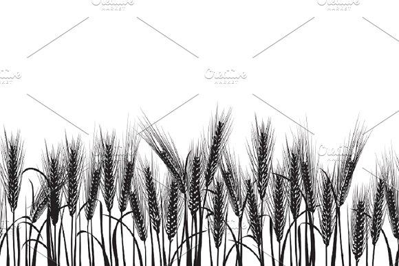 Ears of wheat black pattern