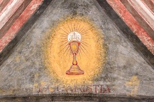 Chalice painted on the wall