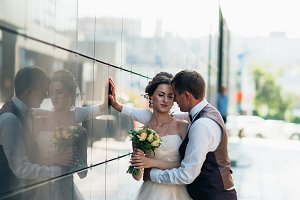Wedding couple on backround mirror b
