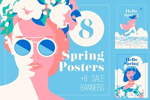 8 Spring Posters & Sale Banners