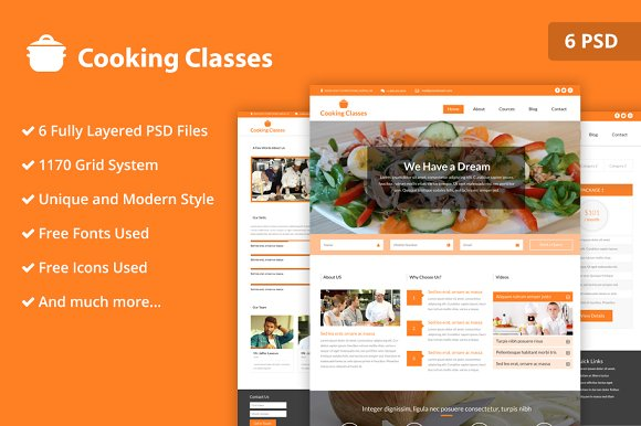 Cooking Classes PSD Website Template
