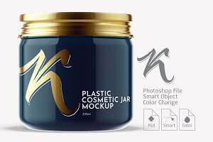 Plastic Cosmetic Gloss Jar Mockup