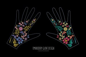 Embroidery glove design with flowers