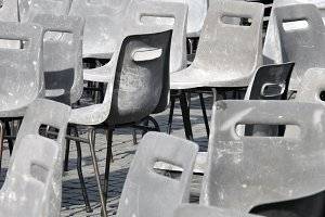 Gray plastic chairs