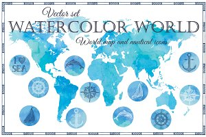Watercolor World: map and icons