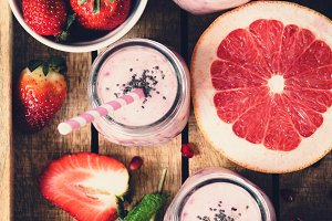 Pink fresh smoothies with grapefruit