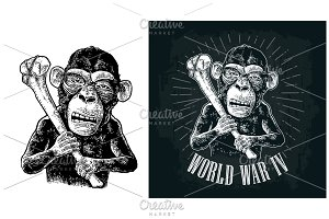 Monkey holding tibia. World War IV
