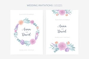 Floral background and invitation