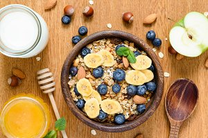 Granola bowl, healthy breakfast