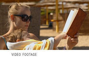 Reading stories on the beach