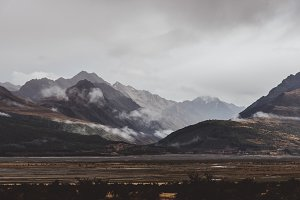 Gloomy Mountain Landscape and Clouds