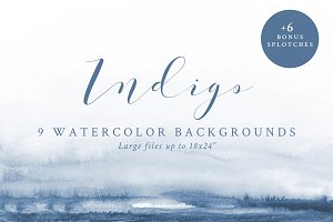 Watercolor Backgrounds - Indigo