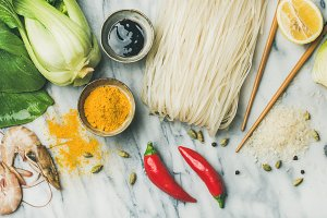 Flat-lay of Asian cuisine ingredient
