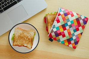 Close up sandwich in lunch bag