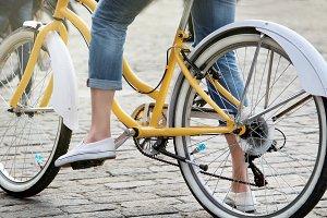 Woman on retro bike.