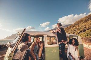 Friends on roadtrip relaxing