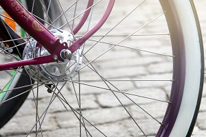 Vintage bicycle wheel close-up.