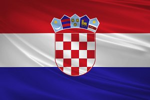 Croatia flag blowing in the wind.