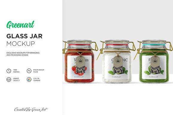 Free Clear Glass Jar Mockup