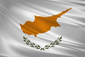 Cyprus flag blowing in the wind.