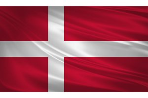 Denmark flag blowing in the wind.