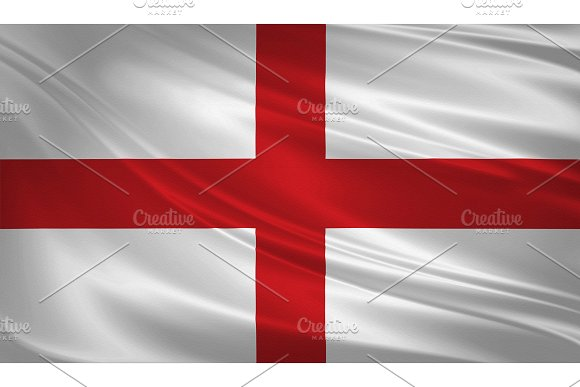 England Flag Blowing In The Wind