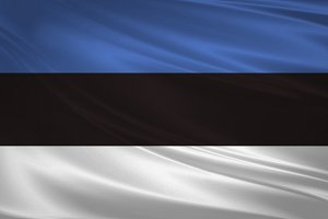 Estonia flag blowing in the wind.
