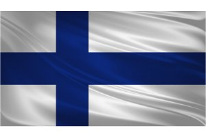 Finland flag blowing in the wind.
