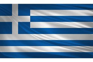 Greece flag blowing in the wind.
