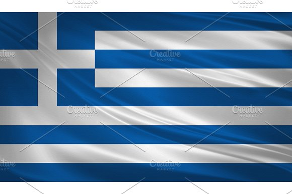 Greece Flag Blowing In The Wind